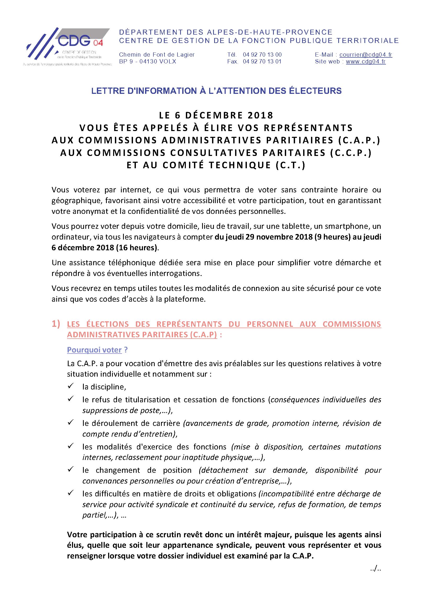 Lettre Aux Electeurs 1 Centre De Gestion Des Alpes De